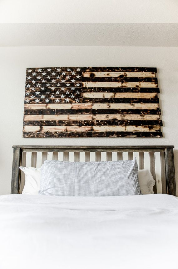 Rustic Wood Burned American Flag by LGCYdecor on Etsy
