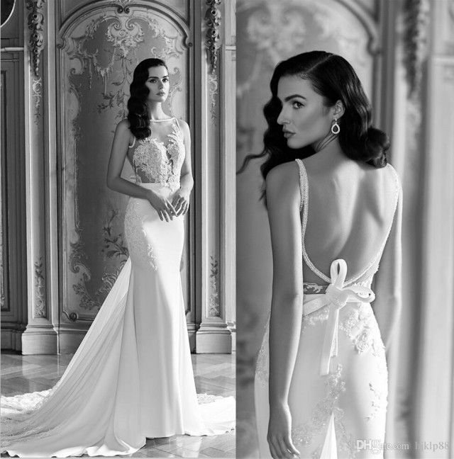 Trendy Sheer Sexy Wedding Dresses Vintage Lace Backless Custom Made Bridal Gowns Sheath Wedding Dress Bow Online with on Store