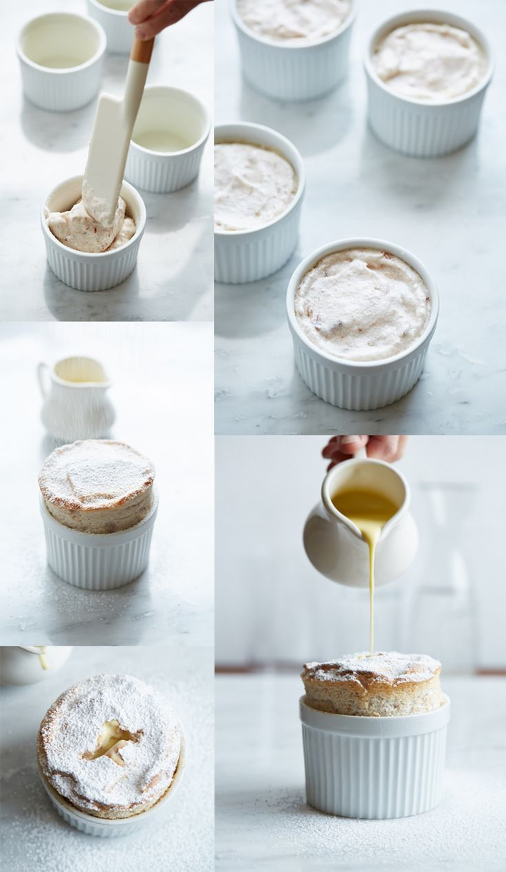 Souffles are a perfect spring time dessert, they're light and bright and a perfect way to use the first produce of the season. Even better, this one is made with jam as a base and you can easily substitute any jam to make these different overtime. Serve them with chilled creme anglaise.
