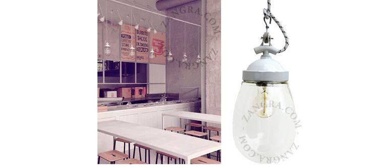 lampe industrielle, laquée blanche