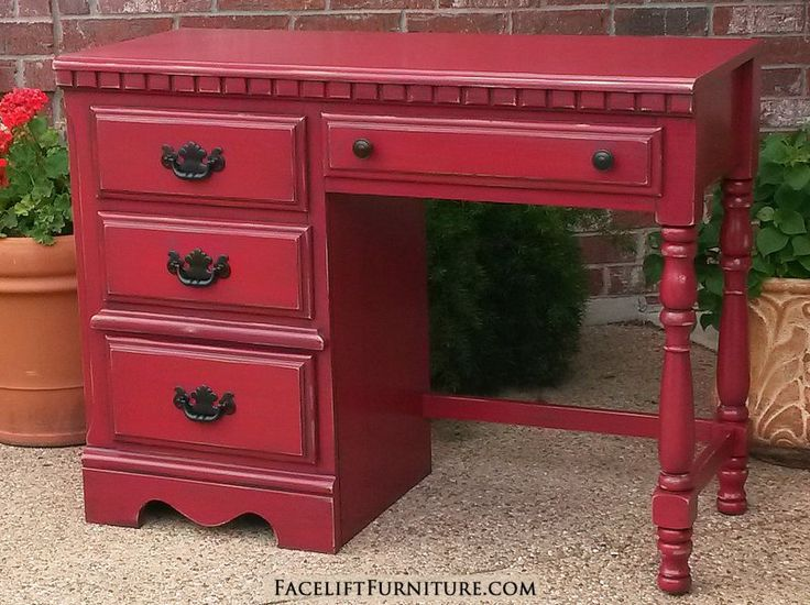 Chunky Desk In Distressed Barn Red With Black Glaze. Original Pulls Painted  Black. From