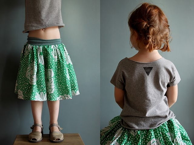 simple dirndl skirt with knit waistband