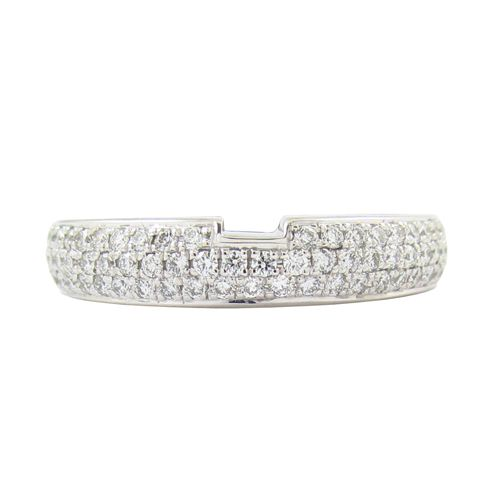 THREE ROW DIAMOND PAVE RING WITH NOTCH  This is a custom fitted diamond wedding band with 3 rows of round brilliant diamonds and a notch cut out to allow the wedding ring and engagement ring to lock together.