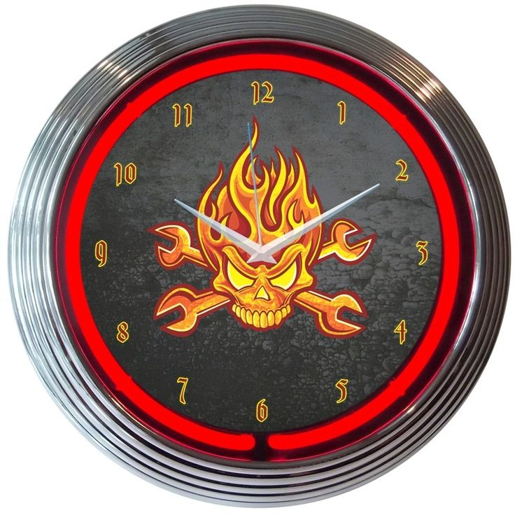 """15"""" Mechanic Fire Skull And Wrenches Neon Clock"""