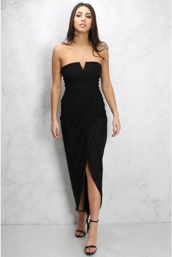 Black Wrap Bandeau Maxi Dress   Rare London