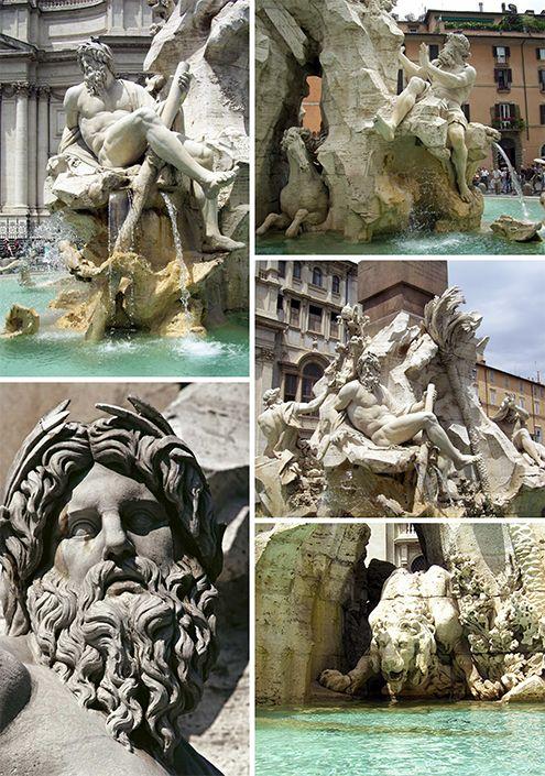 Fuente de los Cuatro Ríos, por Gian Lorenzo Bernini, Barroco Italiano, Plaza Navona, Roma, Italia, 1648—1651 | José Miguel Hernández Hernández