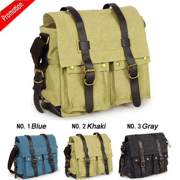 fashion style Men handbags  canvas casual bag medium travel bags multi-pocket blue gray color messenger bags two belt cover  $49.90