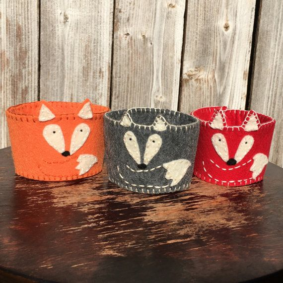 Felt Coffee Cozy Fox Coffee Cozy Hand-stitched by OutoftheWoodsTX