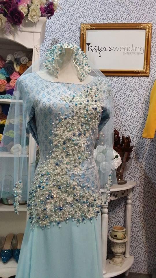songket separuh penuh baby blue butik pengantin kl dress rekaan terkini design baju kahwin sanding pengantin 2015