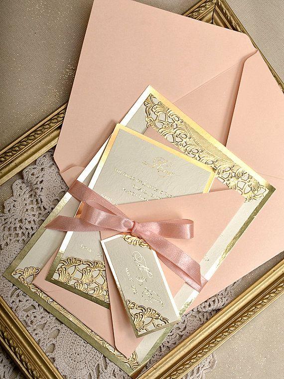 Custom listing 20 Gold and Peach  Wedding by forlovepolkadots
