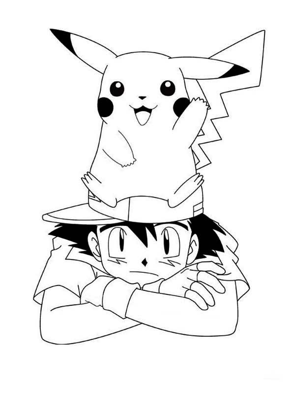 Pikachu and Ash as Teammate Coloring Page Pikachu