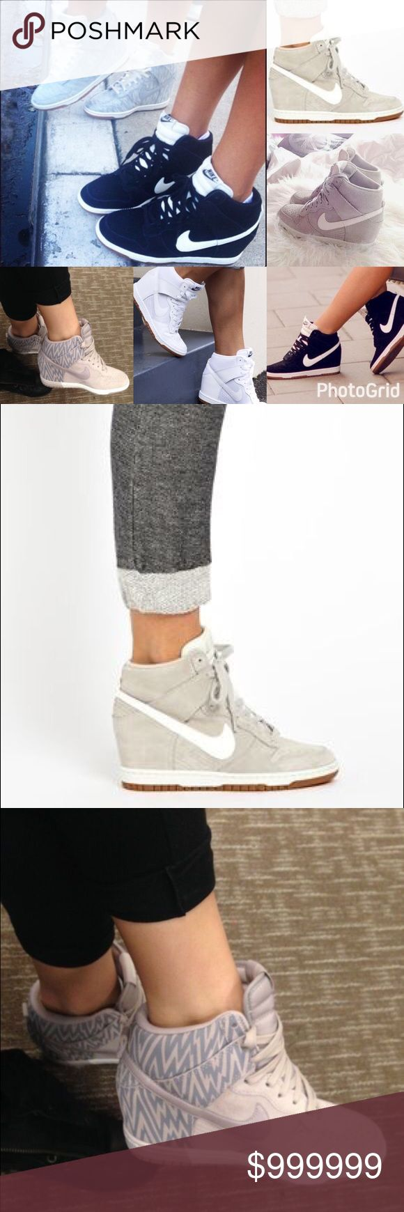 ISO‼️ ANY NIKE SKY HI DUNK WEDGE SNEAKERS IN SEARCH OF 🔎 Ladies please help! I am looking for NIKE SKY HI DUNK WEDGE SNEAKERS in ANY OF THE COLORS/STYLES above. I have searched far and wide for these shoes. I am a SIZE 6 or 6.5. Please tag me or comment if you know where to find ANY OF THESE IN GRAY, WHITE, or BLACK. Thank you so much!! Nike Shoes