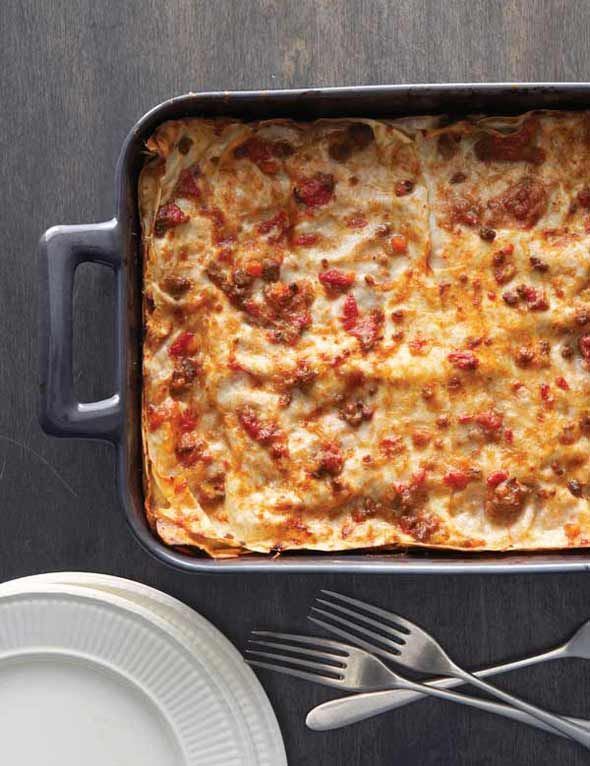 Bolognese Lasagne Recipe | Leite's Culinaria. Please, no cottage cheese. This is lasagna like my mom used to make it: homemade meat sauce and bechamel.