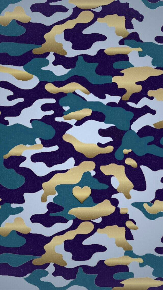 Navy Blue Gold Heart Camoflage Camo Iphone Phone