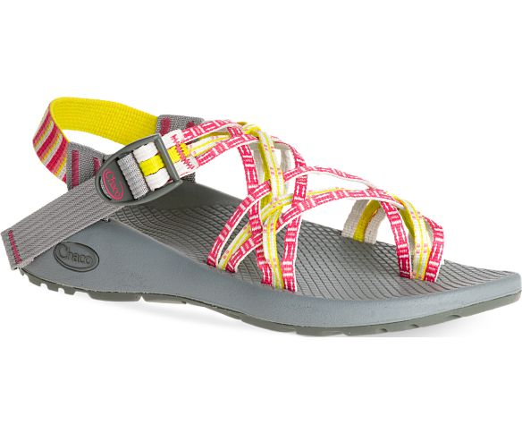 UPPER:  Triple-strapped polyester jacquard webbing upper wraps around the foot and through the midsole for a customized fit Toe loop for secure movement Adjustable and durable high-tensile webbing heel risers Injection-molded ladder lock buckle   MIDSOLE:  Women's specific LUVSEAT™ PU midsole Antimicrobial application for odor control Vegan-friendly construction    OUTSOLE:  Non-marking ChacoGrip™ rubber compound 3mm lug depth