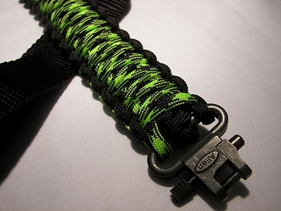 Adjustable Paracord Gun Sling. Colors Zombie outbreak and black. Swivel ends for shot gun or rifle.
