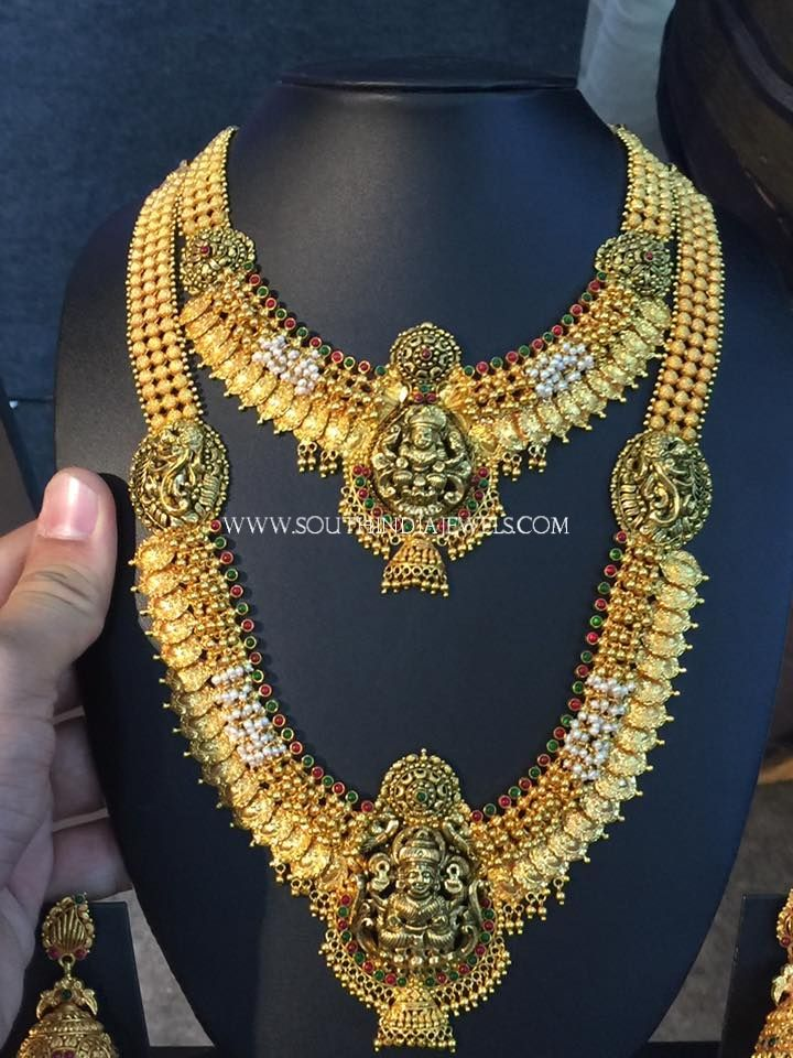 Gold Bridal Temple Jewellery Sets, Gold Bridal Jewellery Haram Designs.