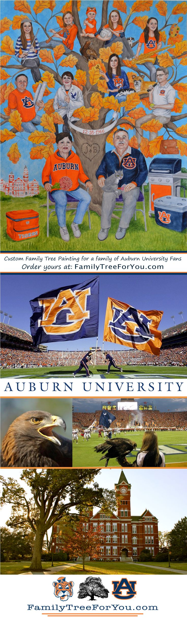 Custom family tree painting for a family of Auburn University sports fans.  In the painting the whole family is dressed in Auburn attire as if they're tailgating at a game. Samford Hall, the War Eagle, and Tiger, the University mascot are also featured. Created as a unique 50th wedding anniversary gift. #auburnfan #collegefootballfan #collegebasketballfan