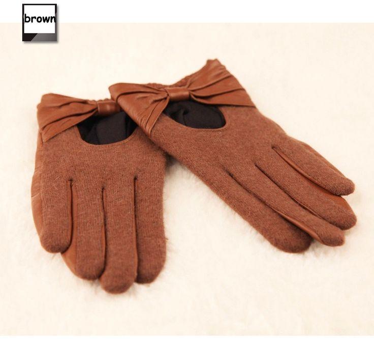 Топ Женская Мода Перчатки Наручные Бантом Твердые Весна Осень Тонкий Кожаный Женский Овчины Перчатки Для Вождения L133NN купить в магазине YC leather gloves factory на AliExpress