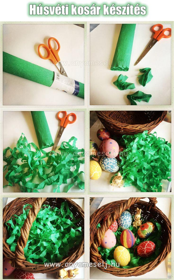 Ha a gyerekekkel festettetek hímes tojásokat, akkor készíthettek belőle húsvéti kosarat. Nagyon egyszerű! :-)