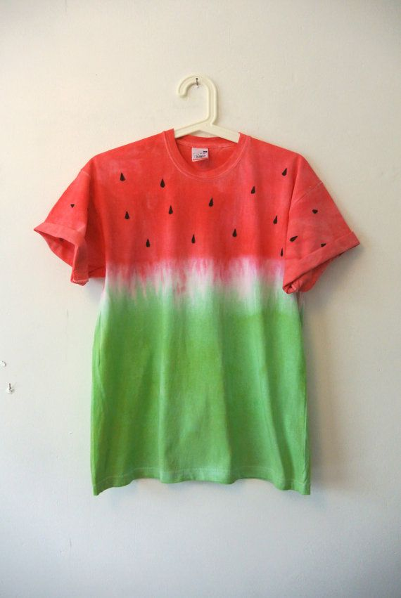 Red To Green Ombre Dip Dyed Watermelon T Shirt. Fruit of the Loom 100% Cotton. Hand dyed so every item is unique. Size Medium to fit