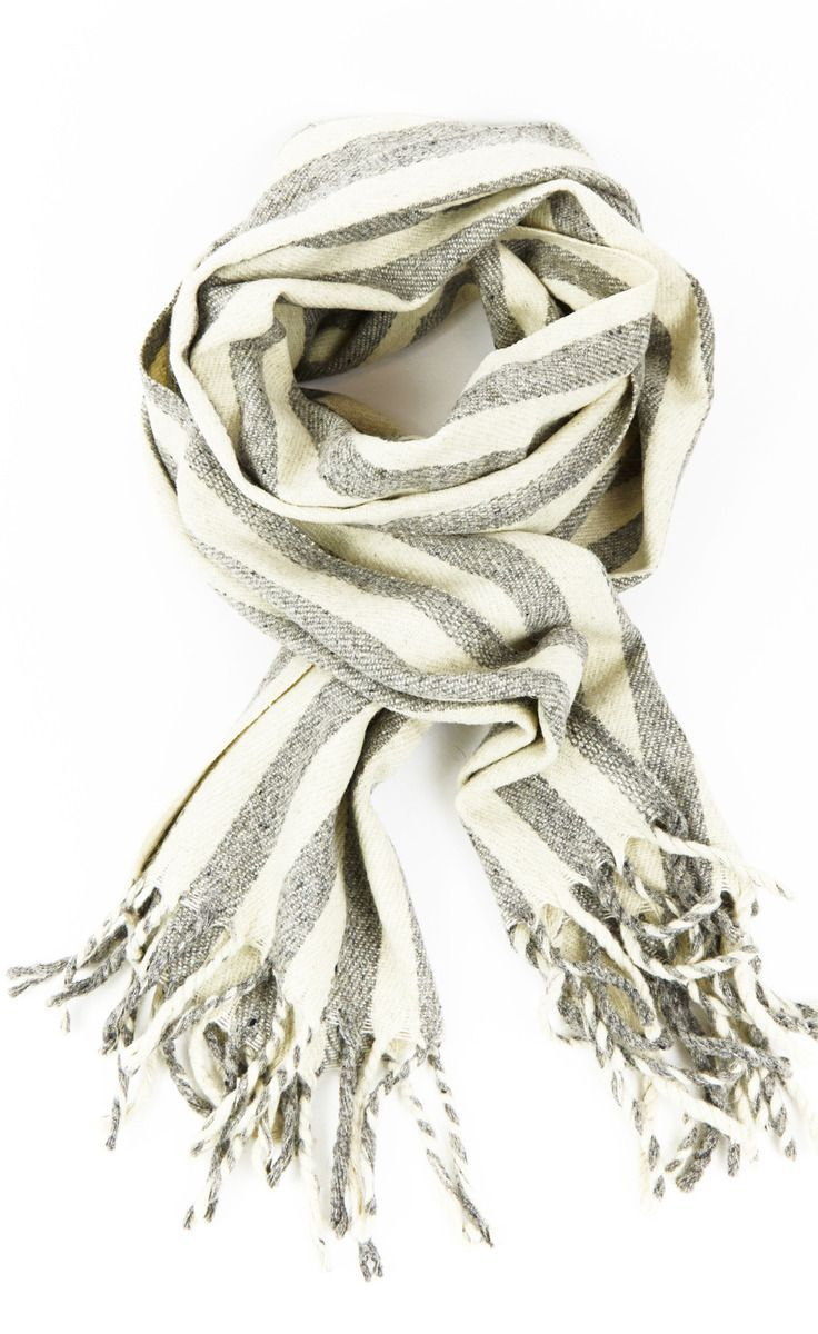 Grey and white striped tassle scarf