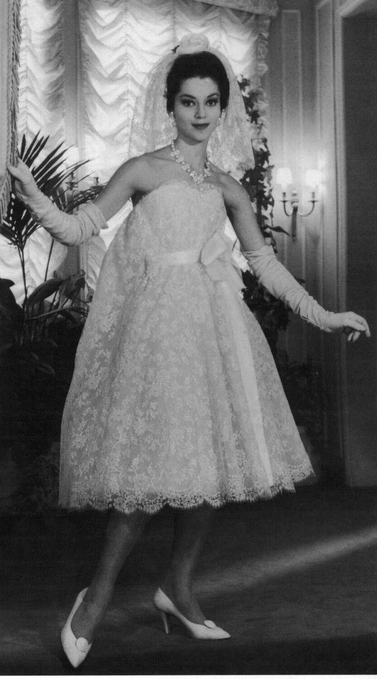 Christian Dior/YSL strapless tea-length empire-waist lace wedding gown 1958