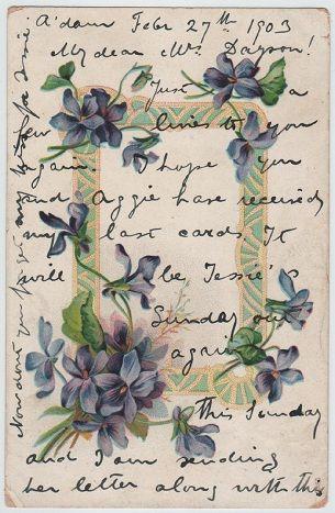 Violets (vintage postcard, c.1903) by dakota_boo, via Flickr