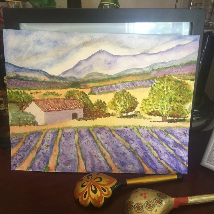Акварель. Лавандовое поле  Watercolors& Lavender fields