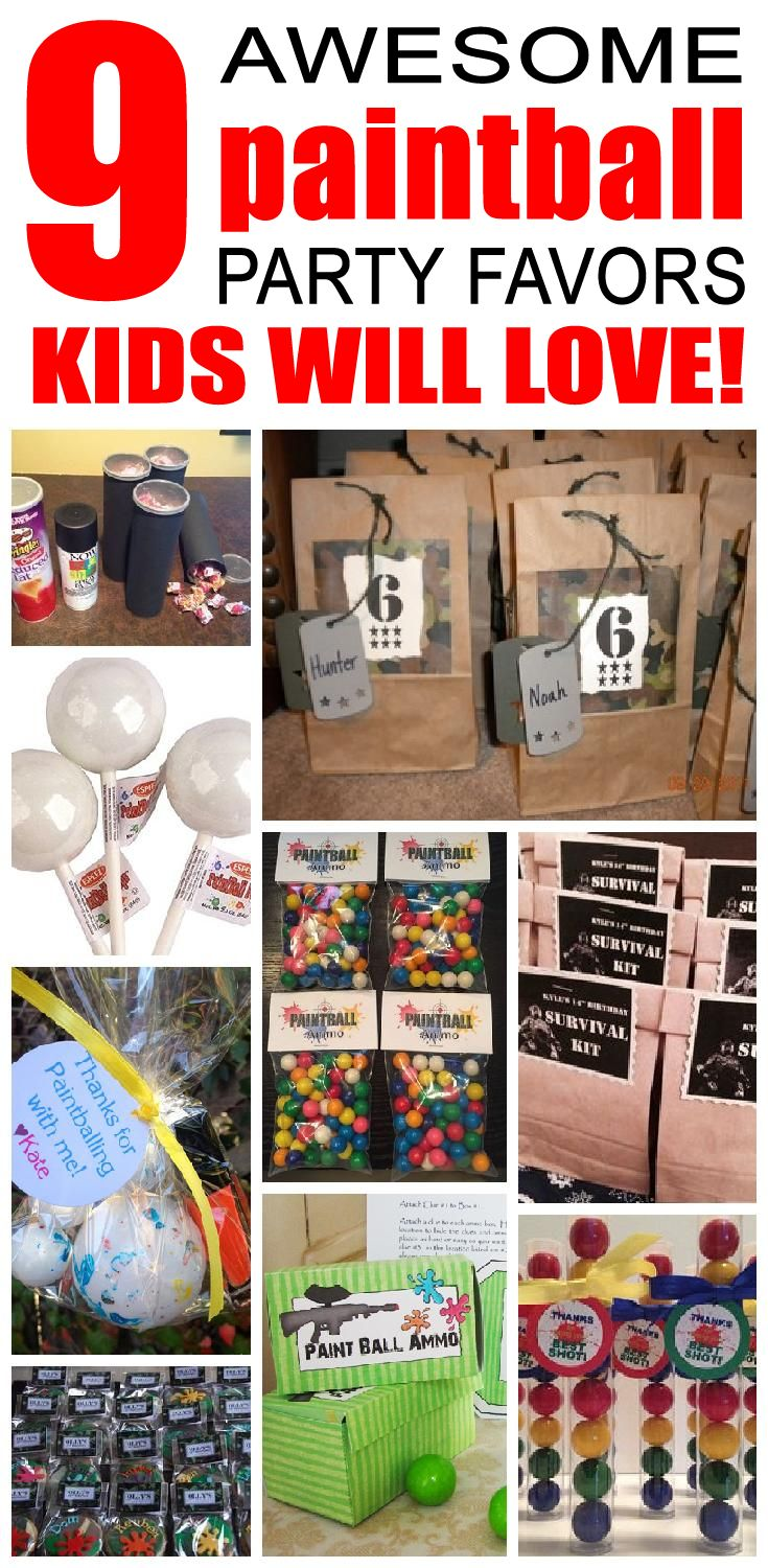 9 paintball party favor ideas for kids. Fun and easy paintball birthday party favor ideas for children.