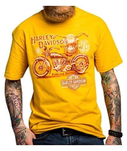 Harley-Davidson Men's Give Way To Trains Crew Neck T-Shirt, Gold 5504-HC9H (L)
