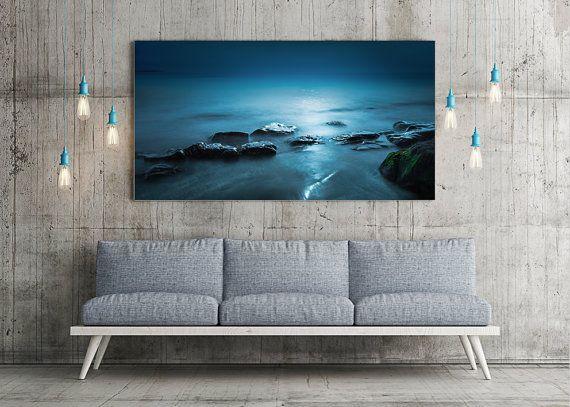 Extra large wall art - Large art - Original Art - Panorama Art - Teal Blue Sea - Beach Art - Oversized art - METAL PRINT - Ready to Hang