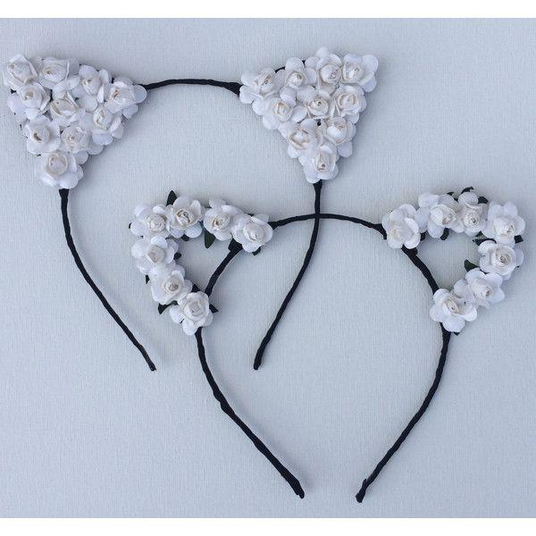 Vanessa Hudgens White Flower cat ears headband, floral cat ears,... (€15) ❤…