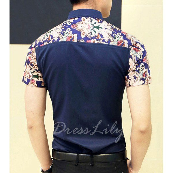 Fashion Style Turn-down Collar Floral Print Color Block Short Sleeves Cotton Shirt For Men