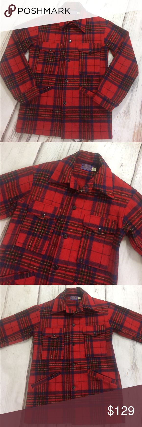 """Pendleton Men's Vintage Hunting Coat Red Plaid Mint Condition! This vintage coat is nearly immaculate.  Vibrant red with blue, black, and yellow plaid. The only signs of wear are rubbing on pocket snaps and buttons. It is unlined. 100% wool. Made in the USA. 2 snap front pockets on chest and two other slant pockets at waist. Armpit to armpit 20.5"""". Underarm length 21"""". Length is 30"""" from base of collar to bottom hem. Pendleton Jackets & Coats"""