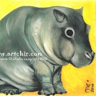 $15+  Baby Fat. Baby Hippo Art. Yellow. Kawaii. Baby Hippo by ArtChiz