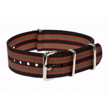 MWC Watches Black, Red And Olive Green 20mm Nato Watch Strap: The 20mm NATO Watch Straps from MWC (Military Watch Company) are made from washable and fast drying ballistic nylon webbing, with stainless steel buckles. These watch straps fit on all MWC watches and other brand's military watches of similar size.