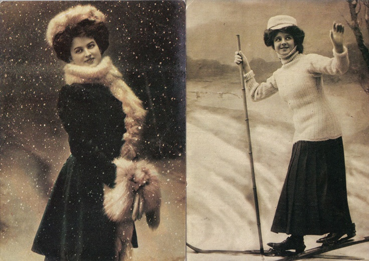 Winter postcard - pictures taken at the beginning of the 20th century. Reprint from 1979.