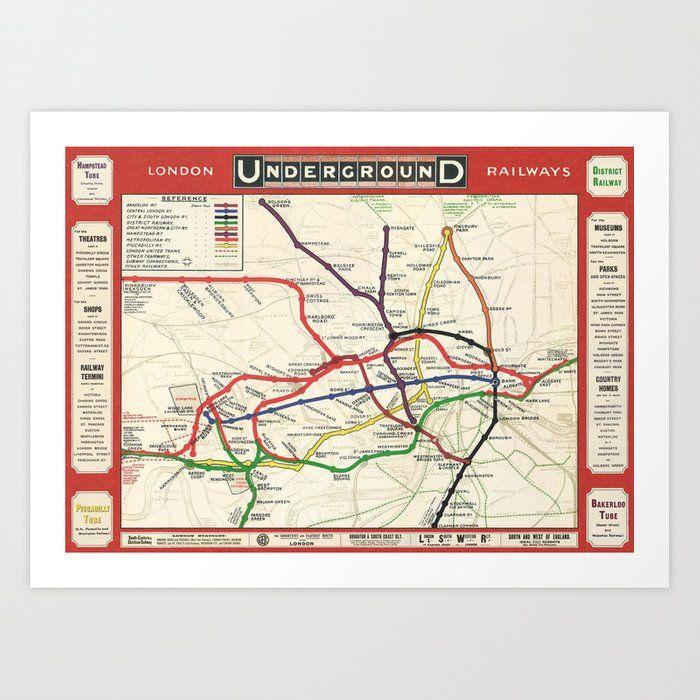 Vintage London Underground Railways Art Print By London Days X Small In 2020 London Underground Map Underground Map London Underground