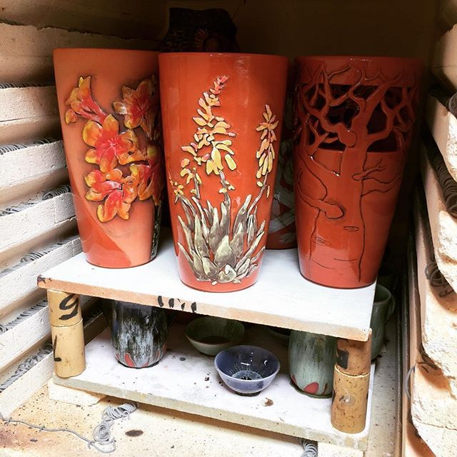 Terracotta vases fresh out of the pottery kiln. Opening that kiln door is like opening a lucky packet.