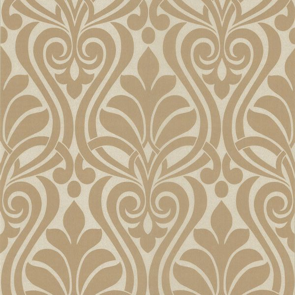 Amiya Taupe New Damask Wallpaper from the Luna Collection by Brewster Home Fashions