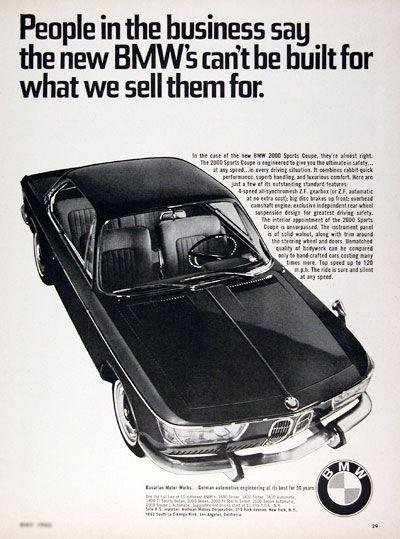 1966 BMW 2000 Sport Coupe Original Vintage Werbung. Das Sportcoupé 2000 wurde entwickelt, um Ihnen bei jeder Geschwindigkeit in jeder Fahrsituation ein Höchstmaß an Sicherheit zu bieten ...