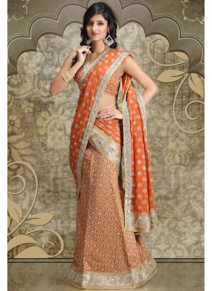 Glamorous Rustic Orange Lehenga Choli