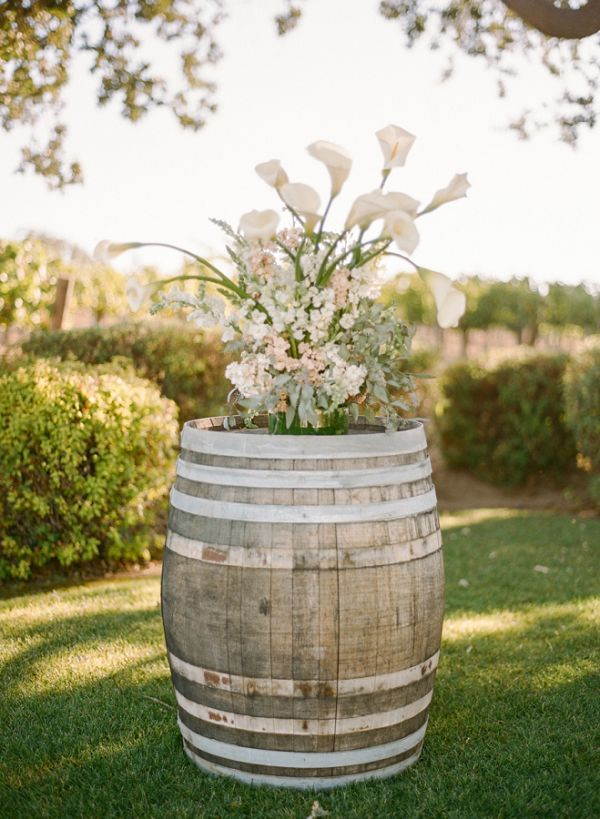Rustic Country Garden Flowers On Wine Barrel Gardens