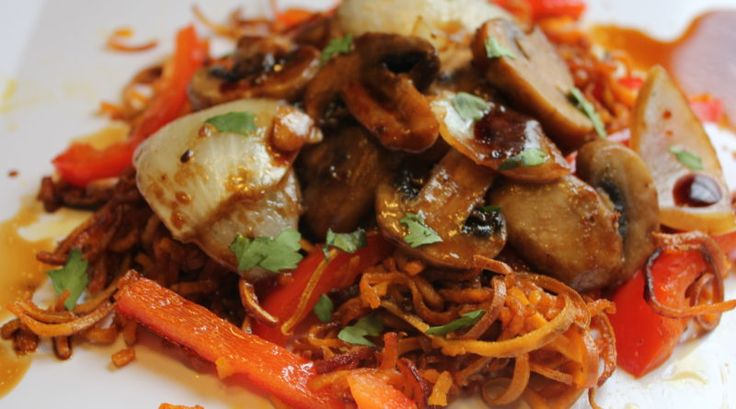 fried garlicky sweet potato noodles with teriyaki mushrooms