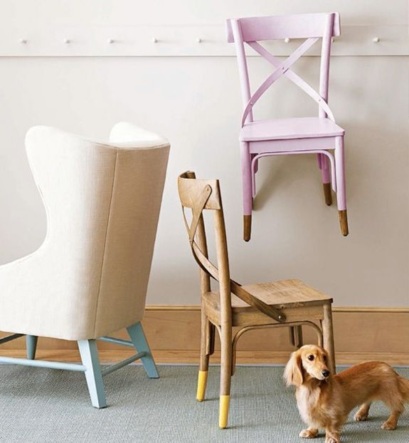 Painted chairs with dipped or raw legs (and a super cute pup)Ideas, Kitchens Chairs, Little Green Notebook, Dips Dyed, Painted Chairs, Legs, Furniture, Painting Chairs, Dips Chairs