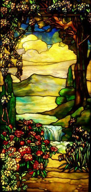 Louis Comfort Tiffany,Landscape with Waterfall,Stained glass,1920,art nouveau,teaching,education,analysis and study of the picture and style,art,culture,painting