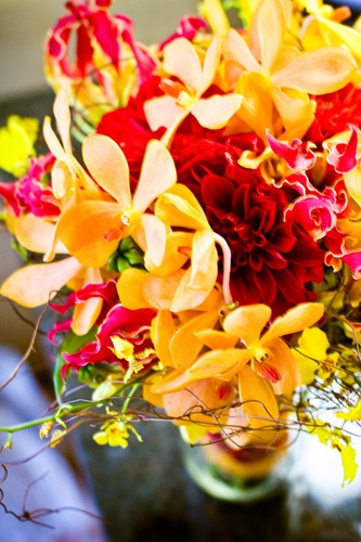 Red yellow wedding flowers