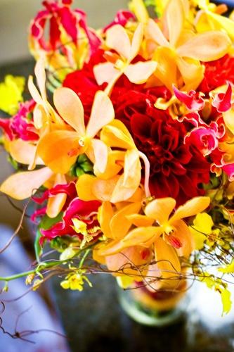 Red yellow wedding flowers
