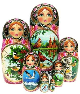 7 piece Spring messengers such as birds are hand painted on a nesting doll. Exclusive one-of-a-kind custom Russian babushka. Free US Shipping.